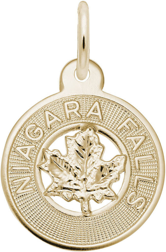 Niagara Falls Small Maple Leaf Ring Charm (Choose Metal) by Rembrandt