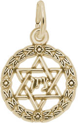 Star Of David Wreath Charm (Choose Metal) by Rembrandt