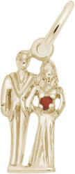 Bride & Groom Charm w/ Red Accent (Choose Metal) by Rembrandt