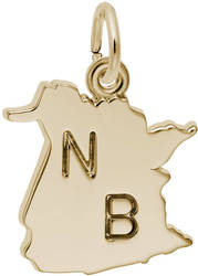 New Brunswick Map Charm (Choose Metal) by Rembrandt