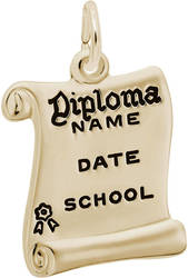 Opened Diploma Black Enamel Charm (Choose Metal) by Rembrandt