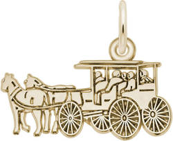 Flat Horse & Carriage Charm (Choose Metal) by Rembrandt