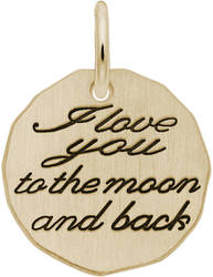 Black Enamel I Love You To The Moon Charm (Choose Metal) by Rembrandt
