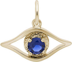Evil Eye Charm w/ Blue Synthetic Crystal (Choose Metal) by Rembrandt