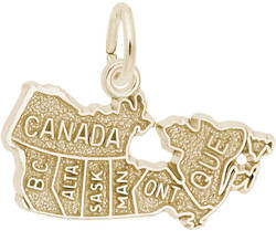 Canada Map Charm (Choose Metal) by Rembrandt