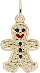 Black & Red Enamel Gingerbread Man Charm (Choose Metal) by Rembrandt