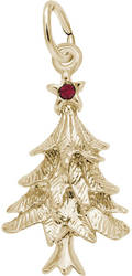 Christmas Tree Charm w/ Purple Synthetic Crystal (Choose Metal) by Rembrandt