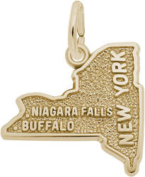 Western New York Map Charm (Choose Metal) by Rembrandt