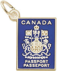 Canada Passport Blue Enamel Charm (Choose Metal) by Rembrandt