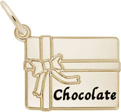 Black Enamel Chocolate Box Charm (Choose Metal) by Rembrandt