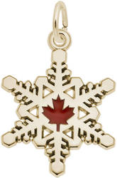 Canadian Snowflake Charm w/Red Enamel (Choose Metal) by Rembrandt