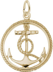 Ship Anchor in Rope Circle Charm (Choose Metal) by Rembrandt