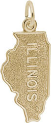 Illinois Map Charm (Choose Metal) by Rembrandt