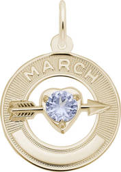 Synthetic Crystal Simulated Birthstone Charms Collection - March (Choose Metal) by Rembrandt