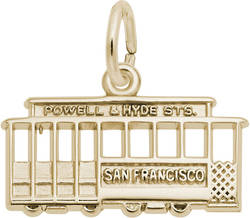 Flat San Francisco Cable Car Charm (Choose Metal) by Rembrandt