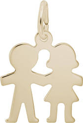 Boy & Girl Holding Hands Charm (Choose Metal) by Rembrandt
