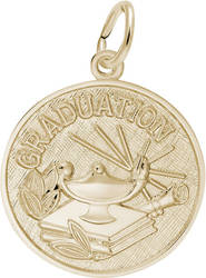 Graduation Lamp Of Learning Charm (Choose Metal) by Rembrandt