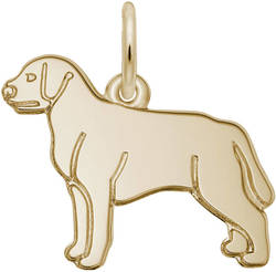 Flat Labrador Retriever Dog Charm (Choose Metal) by Rembrandt