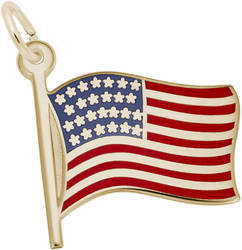 USA American Flag Charm w/ Red, White & Blue Enamel (Choose Metal) by Rembrandt