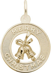 Merry Christmas Bells Charm (Choose Metal) by Rembrandt
