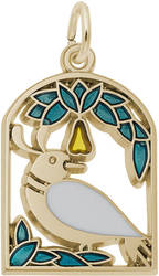 A Partridge In A Pear Tree Charm w/ Green & Yellow Enamel (Choose Metal) by Rembrandt