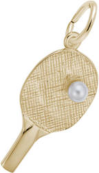 Ping Pong Paddle Charm w/ Simulated Pearl (Choose Metal) by Rembrandt