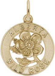 Alberta Wild Rose Charm (Choose Metal) by Rembrandt