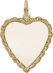 Large Classic Twisted Rope Heart Charm (Choose Metal) by Rembrandt