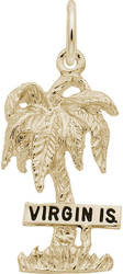 Virgin Islands Palm Tree Charm (Choose Metal) by Rembrandt