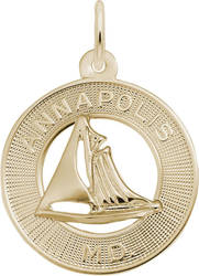 Annapolis MD Sailboat Ring Charm (Choose Metal) by Rembrandt