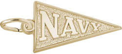 Navy Pennant Flag Charm (Choose Metal) by Rembrandt