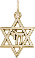 Chai Star Of David Charm (Choose Metal) by Rembrandt