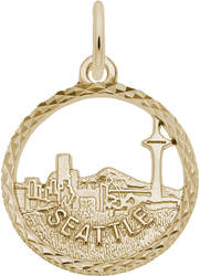 Seattle Skyline Open Charm (Choose Metal) by Rembrandt