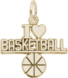 I Love Basketball Charm (Choose Metal) by Rembrandt