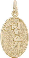 Female Golfer Oval Charm (Choose Metal) by Rembrandt