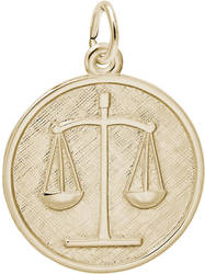 Round Scales Of Justice Charm (Choose Metal) by Rembrandt