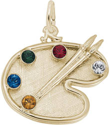 Artist Palette w/ Multicolor Synthetic Crystals Charm (Choose Metal) by Rembrandt