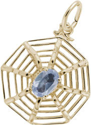 Spider Web Charm w/ Blue Synthetic Crystal (Choose Metal) by Rembrandt