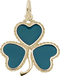 Shamrock w/ Green Enamel Charm (Choose Metal) by Rembrandt