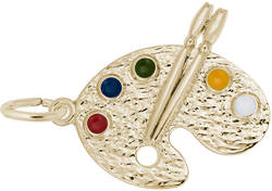 Artist Palette Charm w/ Multicolor Enamel (Choose Metal) by Rembrandt