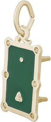 Pool Table Charm w/ Green Enamel (Choose Metal) by Rembrandt
