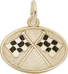 Black Enamel Crossed Checkered Flags Charm (Choose Metal) by Rembrandt