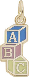 ABC Blocks w/ Blue, Pink & Yellow Enamel Charm (Choose Metal) by Rembrandt
