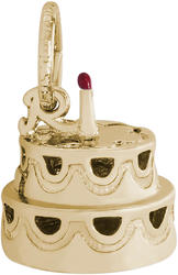 Hollow Two-Tier Cake w/ Candle Charm & Red Enamel (Choose Metal) by Rembrandt