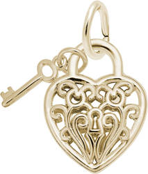 Heart w/ Key 3D Charm (Choose Metal) by Rembrandt