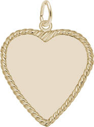 Large Classic Rope Heart Charm (Choose Metal) by Rembrandt
