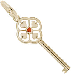 Large Key w/ 4 Hearts Charm & Red Enamel (Choose Metal) by Rembrandt
