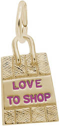 Shopping Bag w/ Pink Enamel Love to Shop Charm (Choose Metal) by Rembrandt