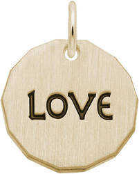 Black Enamel Love Charm Tag Charm (Choose Metal) by Rembrandt