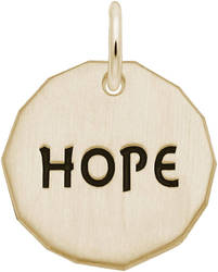 Black Enamel Hope Charm Tag Charm (Choose Metal) by Rembrandt